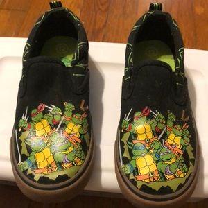 Teenage Mutant Ninja Turtles slip-on shoes.